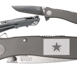 Tx Texas Flag Solid Custom Engraved Sog Twitch Ii Twi-8 Assisted Folding Pocket Knife By Ndz Performance