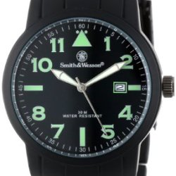 Smith & Wesson Men'S Sww-167 Pilot Basic Round Black Face With Black Stainless Steel Strap, Black Watch