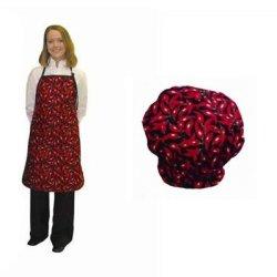Set Of 2 - Chefs Hat / Bib Apron Red Chili Pepper Design