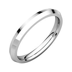 14K White Gold Knife Edge Comfort Fit 2.5Mm Wedding Band Ring, Size 10