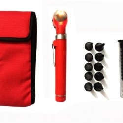 Zzzrt Pro Physician 2.5V Halogen Ligh Fiber Optic Otoscope Mini Pocket Medical Ent Diagnostic Set Red + Free Protective Cover