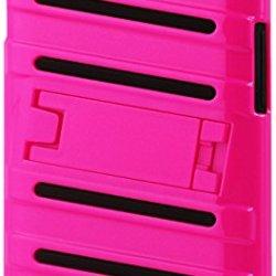 Reiko Fish Bone Pattern Hybrid Case For Lg L70 With Horizontal Kickstand - Retail Packaging - Black Hotpink