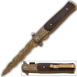 Gold With Wood Handle & Damascus Kriss Blade Assist Opening Pocket Knife Milano Godfather Style