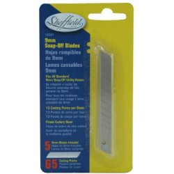 Sheffield Tools 12281 Snap Off Blades, 9-Millimeter, 5 Pack