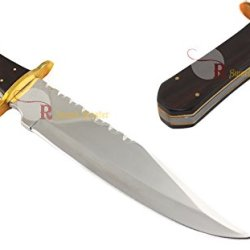 "Swordmaster - 14"" Hunting Bowie Knife Full Tang With Wooden Handle & Leather Sheath Brand New"