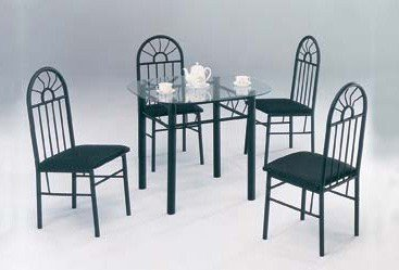 Image of 5 Piece Black Metal Dining Set - Glass Top Table And 4 Chairs (VF_AZ05-99-11679)