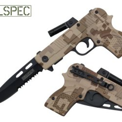 "Milspec 8"" Assisted Open Folding Tactical Survival Pistol Design Pocket Knife Camo Color With Led Light"