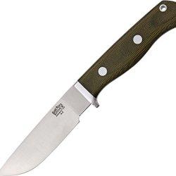 Bark River Gameskeeper Fixed Blade Knife, Green Handle 121Mgcs