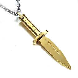 Menso Jewelry Army Stainless Steel Rambo Knife Dagger Pendant Mens Necklace, Gold, 20 Inch Chain