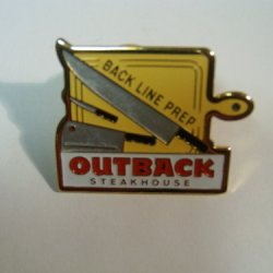 Outback Steakhouse 'Back Line Prep' With Knives, Cleaver, Lapel Pin