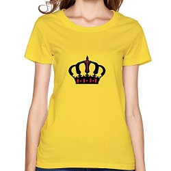 Crown Art Cool Women T Shirts Large Yellow