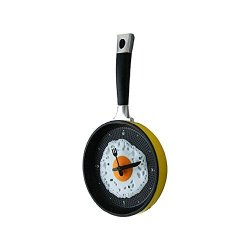 Umiwe(Tm) Creative Decoration Metal Fried Egg Pan Wall Hanging Kitchen Clock,Yellow With Umiwe Accessory