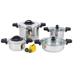 New 8 Pc Waterless 12 Element Stainless Steel Low Pressure Cooker Set Stockpots