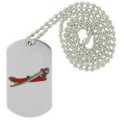 Military Emblem Dog Tag W/ Metal Chain Necklace - Military Vehicle & Weapons Pins - Military Weapon & Knife Pins - Saber & Sheath