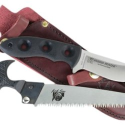 Outdoor Edge Hp-1L Hybrid-Pak Combining The Deep Bellied Hybrid Hunter With The 6-Inch Triple Ground Kodi Saw In A Full Grain Leather Belt Sheath