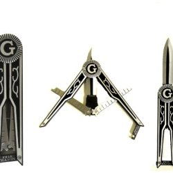Black And Silver Masonic Free Mason Square And Compass Symbolic Display Knife