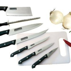 Kittamor 7-Piece 18/8 Stainless Cutlery Set Plus Poly Cutting Board