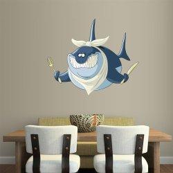 Full Color Wall Decal Mural Sticker Decor Art Beautyfull Cute Cartoon Animal Shark Fish Fork Knife (Col676)