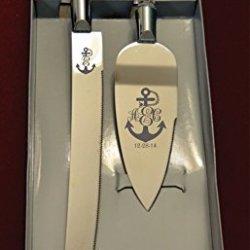 Anchor Monogram Engraved Wedding Cake Knife / Server Set Names And Date Free !