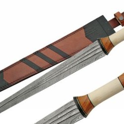 Szco Supplies Damascus Sword With Bone Handle