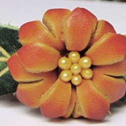 Flower Orange/Brown On Orange-Brown Band All Hand Worked Leather Bracelet - Adjustable Size