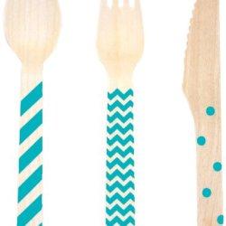 Dress My Cupcake Stamped WoodenCutlery Set, Chevron/Striped/Polka Dot, Aqua, 18-Pack