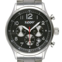Zippo Sports Watch With Chronograph/Black Dial And Solid Stainless Steel Band, Black