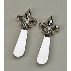 "Green Ace Fleur De Lis Spreaders Pair, 4.5"" Nickel Plated In Gift Box, Free Engraving!"