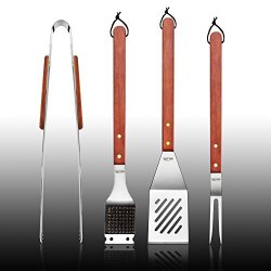 New Star Foodservice 59007 Stainless Steel Barbecue Tool Set With Solid Hard Wood Handles, Set Of 4
