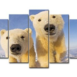 5 Piece Wall Art Painting Polar Bear Cubs In The Ice Pictures Prints On Canvas Animal The Picture Decor Oil For Home Modern Decoration Print For Bedroom