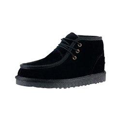 Rock Me Men'S Genuine Leather Fluff Snow Boot(Black,11)