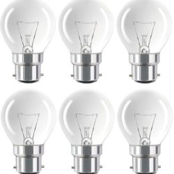 Eveready Pack Of 6 Classic Mini Globes 40W, Bc B22 B22D, Clear Round Light Bulbs, Bayonet Cap, Golf Ball Incandescent Dimmable P45 Lamps, Mains 230V-240V - [Eu Specification: 220-240V]