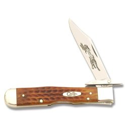 Case Knives 7399 Cheetah Knife With Pocket Worn Harvest Orange Jigged Bone Handles