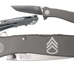 Military Sergeant Staff Custom Engraved Sog Twitch Ii Twi-8 Assisted Folding Pocket Knife By Ndz Performance