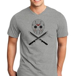 Scary Mask With Machete - Halloween Adult V-Neck T-Shirt - Heathergray - Xl