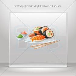 Decals Decal Restaurant Decoration Sushi Tablet Laptop Weatherproof Sports Mo (40 X 21 In)
