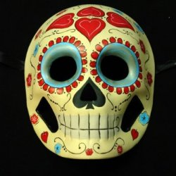 Yellow And Skyblue Mexican Sugar Skull Hand-Painted Paper Mache Mask