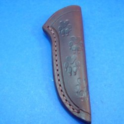 "Custom Handmade Leather Knife Sheath 6 1/4"" X 2 1/8"" Tooled With Wolf Prints And Dyed Brown"