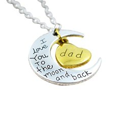 Tricess I Love You To The Moon And Back Chain Pendent Necklace Family Love Heart