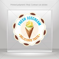 Decal Stickers Ice Cream Shop Decor Fresh Ice Cream Tablet Laptop Weatherpro (40 X 40 In)