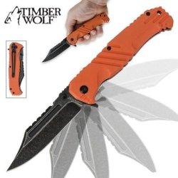 Timber Wolf Havoc Stonewash Assisted Opening Folding Pocket Knife Orange