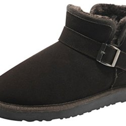 Rock Me Men'S Soft Wool Thick Ankle Buckle Snow Boots Gentle I(11 D(M) Us, Brown)