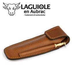 Laguiole En Aubrac Eaf Brown Leather Belt Pocket With Sharpener For 11/12 Cm Knives - Knife Case - Quality Sheath