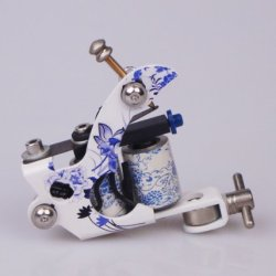 Gc Blue And White Porcelain Style Iron Frame Tattoo Gun Gucy121