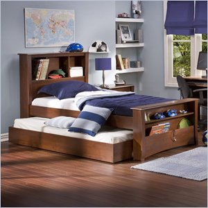 Image of South Shore Mika Classic Cherry Kids Wood Bookcase Bed 3 Piece Bedroom Set (3268096-PKG-3PKG)