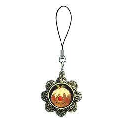 Giftjewelryshop Ancient Bronze Retro Style Thanksgiving Turkey Knife Fork Photo Sun Flower Strap Hanging Chain For Phone Cell Phone Charms