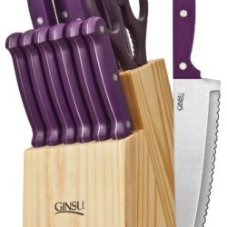 Ginsu 3878 Essential Series 14-Piece Cutlery Set With Natural Block, Purple