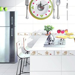 Fashion Art Decor Fun Diy Home Interior Time Decor Wall Clock Graphic Vinyl Adhesive Sticker Series 9 Style Plate Knife And Fork