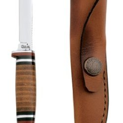 Case Cutlery 379 Case M3Finn Leather Hunter With Stainless Steel Fixed Blade Leather