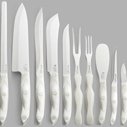 Cutco Model 1800 Homemaker Set In White (Pearl) With 1725 Full Size Chef Knife. Comes With 2 Trays For Storing In Drawer Or Hanging On Wall...............10 High Carbon Stainless Knives & Forks With In Factory-Sealed Plastic Bags............(2) #1742 Knif